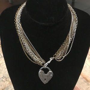 Fossil multi strand lock necklace